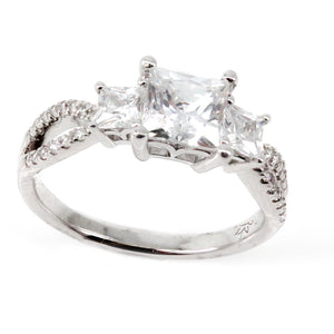 Three Stone Twist Engagement Ring Mounting (0.14 ct. tw.)