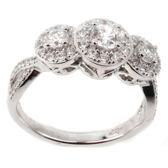 Three Stone Halo Engagement Ring Mounting (0.43 ct. tw.)
