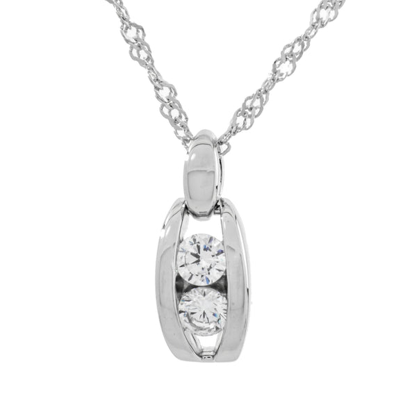 It Takes Two Clear Swarovski Two Stone Crystal Sterling Silver Pendant