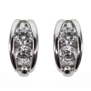 It Takes Two Clear Swarovski CZ Two Stone Sterling Silver Earrings