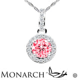 Colored Stone Sterling Silver And Platinum Plating Swarovski  CZ Round Center Pendant