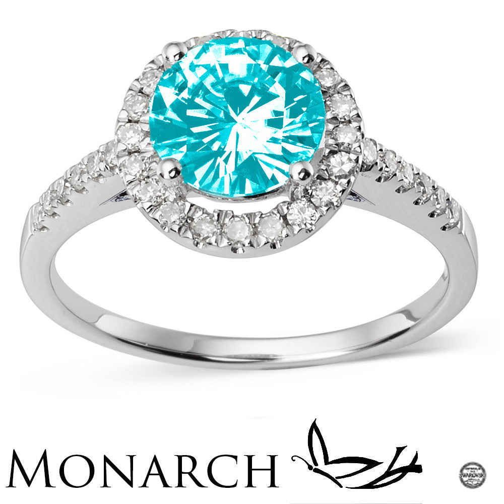 ce342b8fd ... Colored Stone Sterling Silver And Platinum Plating Swarovski CZ Round  Center Ring ...