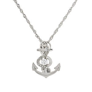 You're My Anchor Clear Swarovski CZ Sterling Silver Pendant