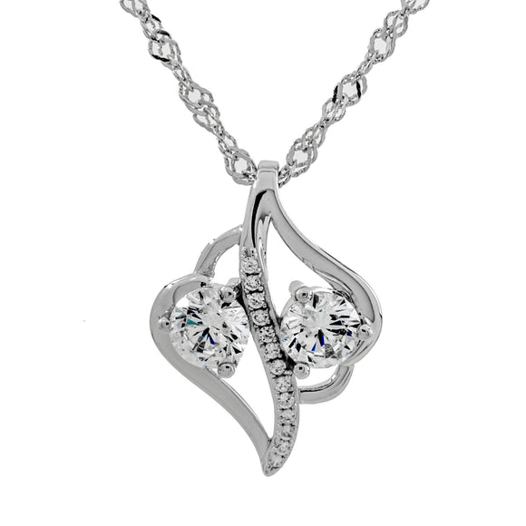 Two Hearts A Flutter Clear Swarvoski CZ Two Stone Sterling Silver Pendant
