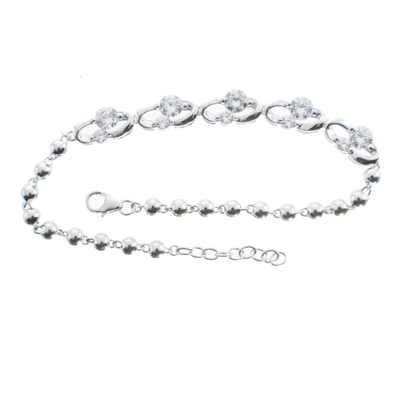 Stand By Me Two Stone Clear Swarvoski CZ Sterling Silver Bracelet