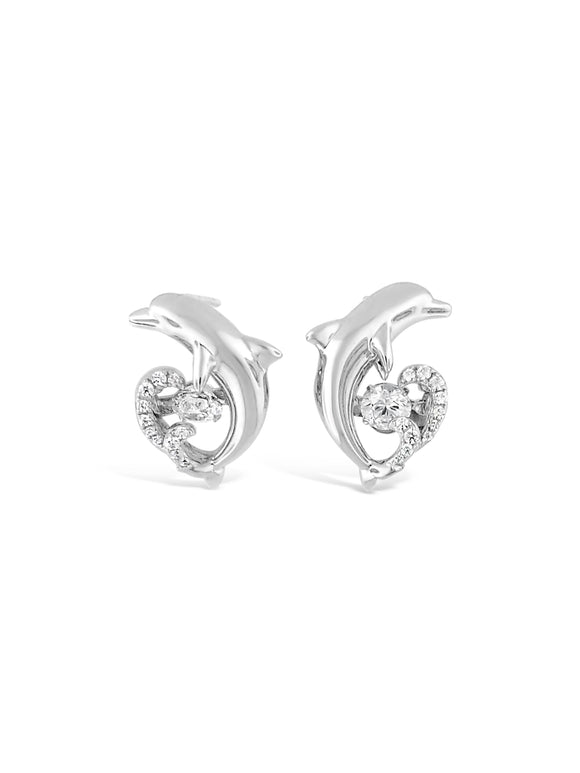 Nautical Dolphin Swarovski CZ Sterling Silver Dancing Stone Earrings