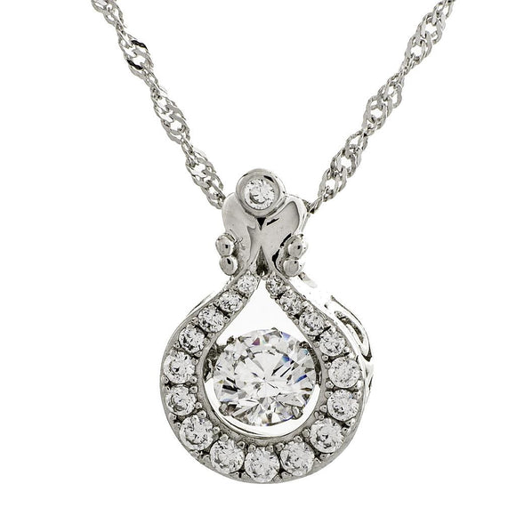 Lucky Charm Swarovski CZ Sterling Silver Dancing Stone Pendant