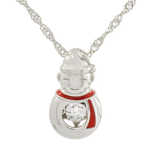 Snowman With Red Scarf Swarvoski CZ Sterling Silver Dancing Stone Pendant