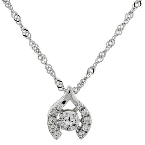 Enchanted 'Make A Wish' Sterling Silver Swarovski Zirconia Dancing Stone Necklace