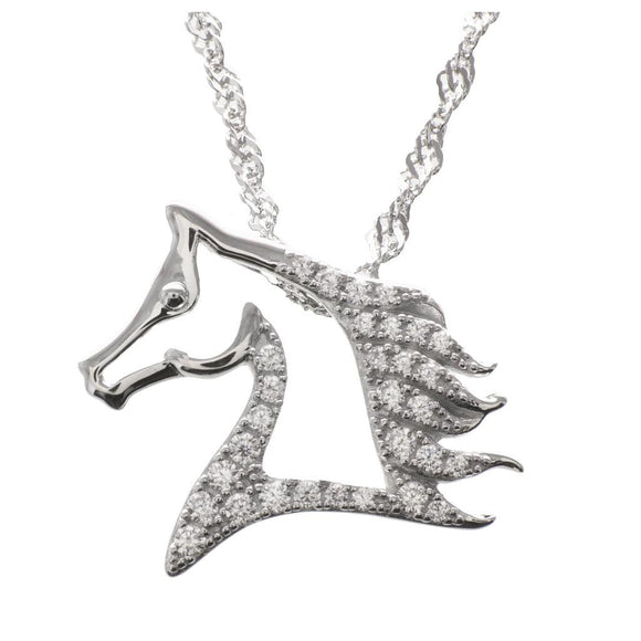 Wild Stallion Monarch Platinum Plated Sterling Silver Horse Pendant