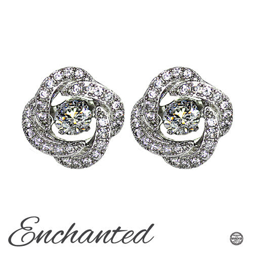 Enchanted 'Knots Of Love' Sterling Silver Swarovski Zirconia Dancing Stone Earrings