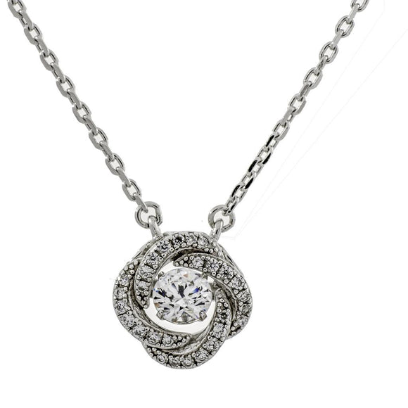 Enchanted 'Knots Of Love' Clear Sterling Silver Swarovski Zirconia Dancing Stone Necklace