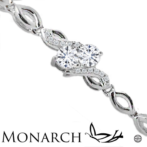 Endless Love Clear Swarovski CZ Two Stone Sterling Silver Bracelet