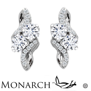 Monarch 'Endless Love' Clear  Two Stone Sterling Silver Zirconia Earrings