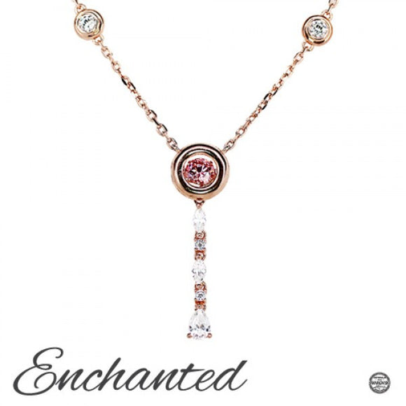 Rosey Stars With Pink Stardust Swarvoski CZ Sterling Silver 18k Rose Gold Plating Dancing Stone Pendant