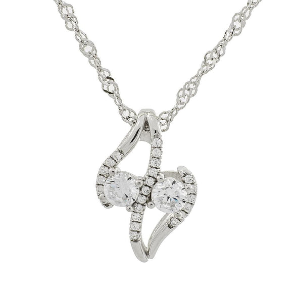 Inspire Me Clear Swarovski CZ Two Stone Sterling Silver Pendant