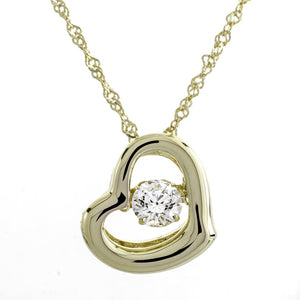 Glimmer In My Heart Clear Swarovski CZ Sterling Silver 18k Yellow Gold Plating Dancing Stone Pendant