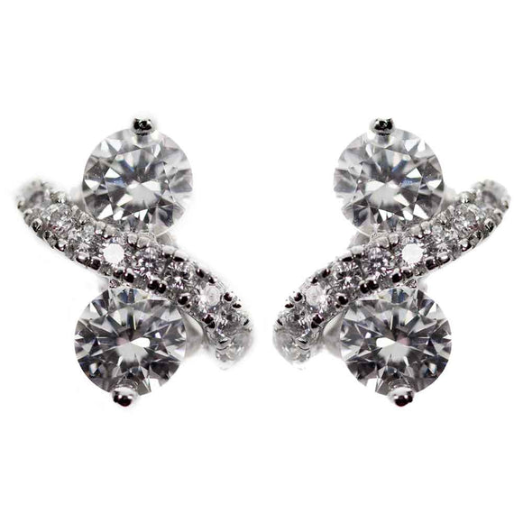 Monarch 'Infinite Love' Two Stone Sterling Silver Swarovski Crystal  Earrings