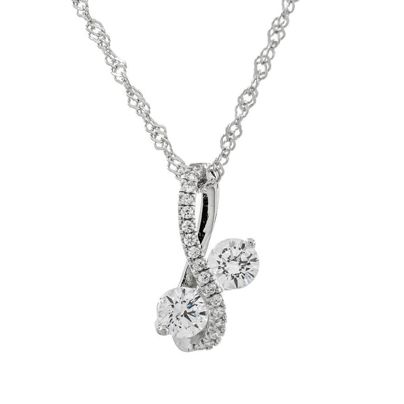 Monarch 'Infinite Love' Sterling Silver Swarovski Zirconia Two Stone Necklace