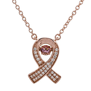 Enchanted 'Pink Ribbon Of Hope' Breast Cancer Awareness Sterling Silver Swarvoski Zirconia Dancing Stone Necklace