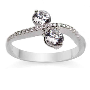 Monarch 'Infinite Love'Two Stone Sterling Silver Swarovski Zirconia Ring