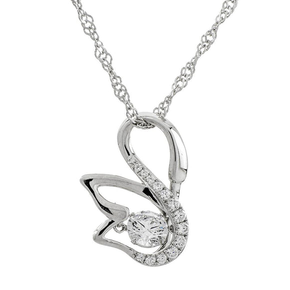 Enchanted 'Graceful Elegance Swan' Sterling Silver Swarovski Zirconia Dancing Stone Necklace