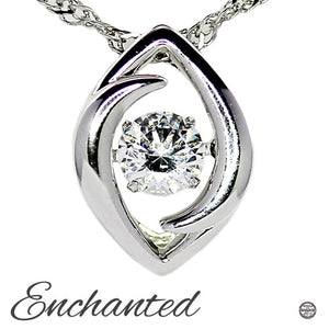 Enchanted 'Eclipse' Sterling Silver Swarovski Zirconia Dancing Stone Necklace