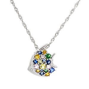 Aquatic Fish Clear Blue Swarovski CZ Sterling Silver Pendant