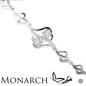 Two Hearts A Flutter Clear Swarvoski CZ Two Stone Sterling Silver Bracelet