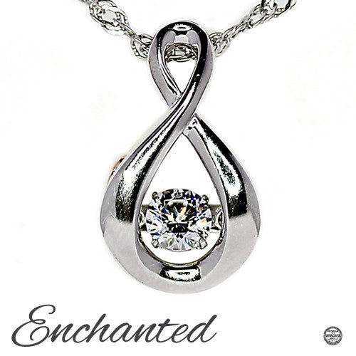 Enchanted 'Endless Possibilities'  Sterling Silver Swarovski Zirconia Dancing Stone Pendant