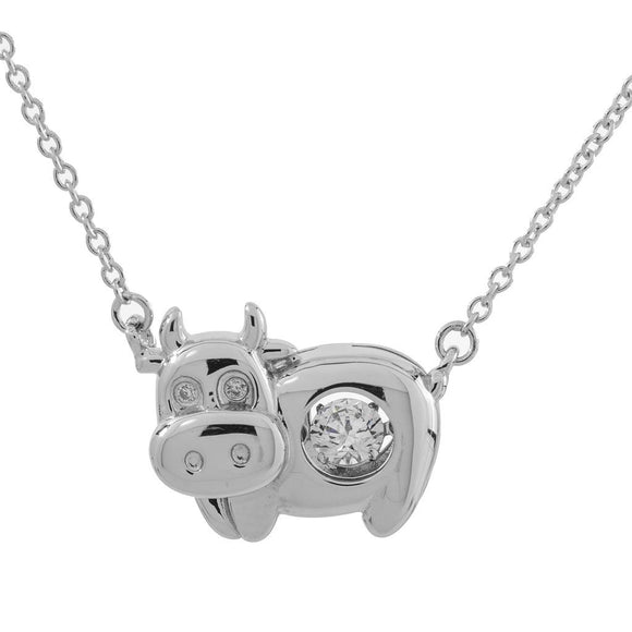 Happy Cow Swarovski CZ Sterling Silver Dancing Stone Pendant