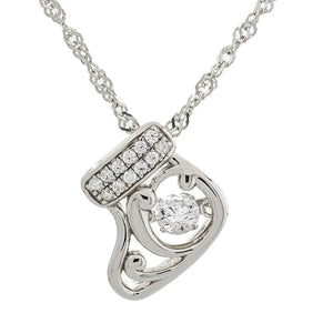 Stocking Swarvoski CZ Sterling Silver Dancing Stone Pendant