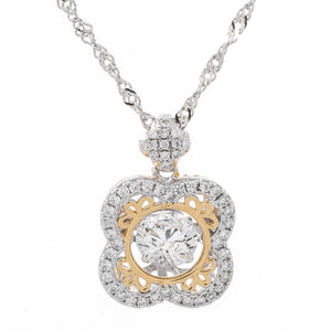 Clover Of Happiness Dancing Swarovski CZ  Pendant
