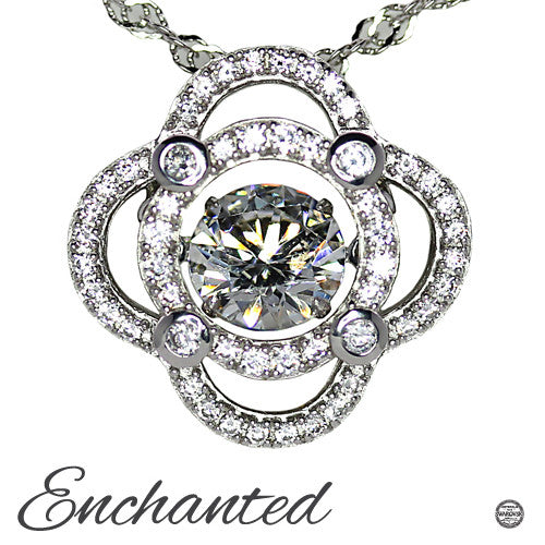 Enchated 'Inner Radiance' Sterling Silver Swarovski Zirconia Dancing Stone Necklace