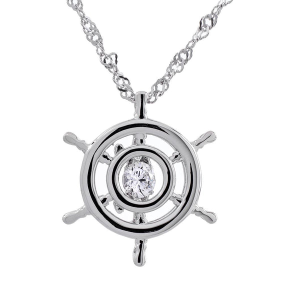 Ship Wheel Swarvoski CZ Sterling Silver Dancing Stone Pendant