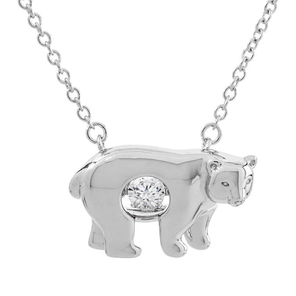 Dancing Swarovski CZ Bear Enchanted Pendant