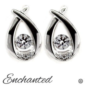 Drop Swarovski CZ Sterling Silver Dancing Stone Earrings