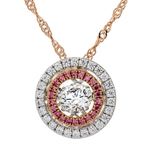 Enchanted 'Pink Star Galaxy' Clear and Pink Swarvoski Zirconia Sterling Silver Dancing Stone Necklace