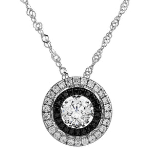 Enchanted 'Dark Star Galaxy' Clear and Black Swarovski Zirconia Sterling Silver Dancing Stone Necklace