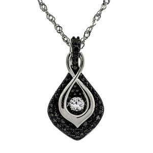 Ebony Leaf Of Love Clear and Black Swarovski CZ Sterling Silver Dancing Stone Pendant