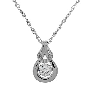 Enchanted 'Lucky Halo' Sterling Silver Swarovski Zirconia Dancing Stone Necklace