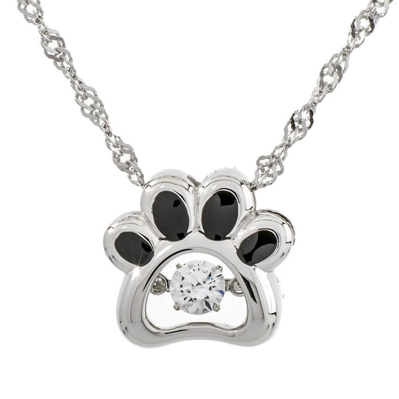 Paw Sterling Silver Zirconia Dancing Stone Pendant