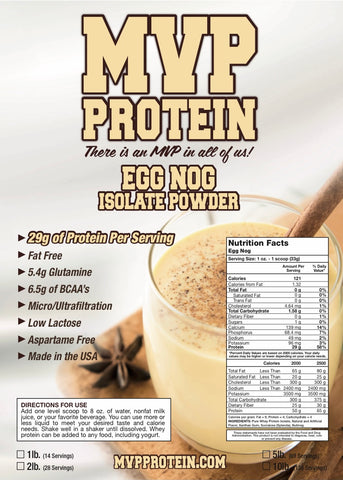 """MVP PROTEIN""  ""EGG NOG"" Whey Isolate Protein Powder- 1 Lb. (14 Servings)"
