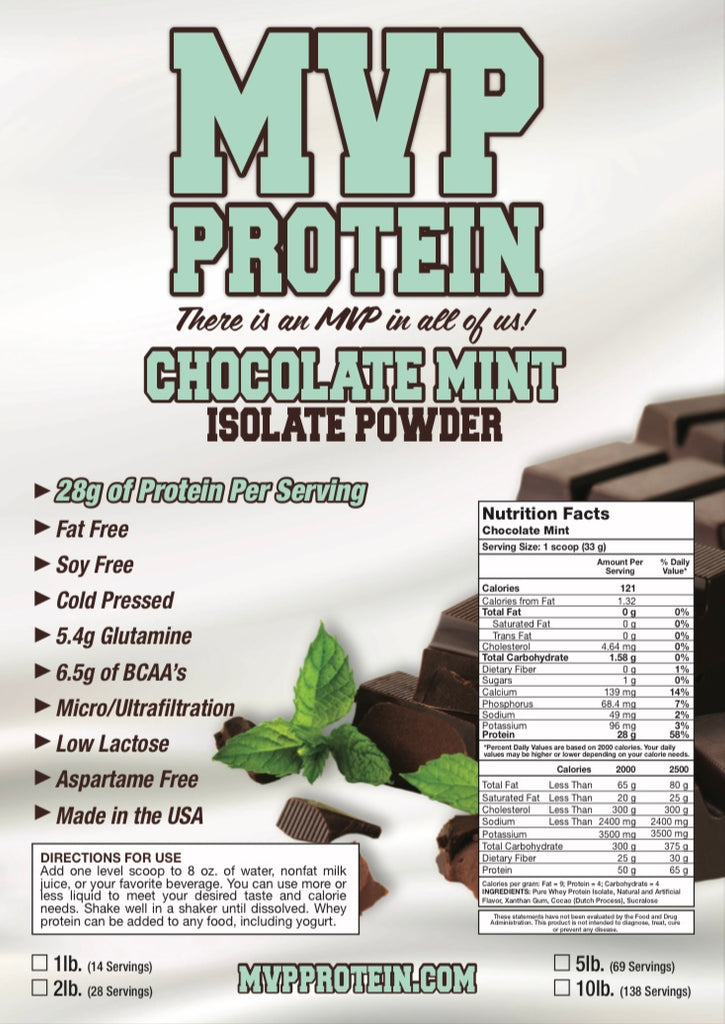 """MVP PROTEIN"" ""CHOCOLATE MINT"" Whey Isolate Protein Powder-5 Lbs. (69 Servings)"