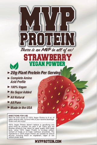 """MVP PROTEIN"" ""VEGAN STRAWBERRY"" Plant Protein Powder 20g of protein- 2 Lbs. (28 Servings)"