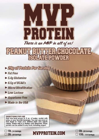 """MVP PROTEIN""  ""PEANUT BUTTER CHOCOLATE"" Whey Isolate Protein Powder-12 Single Serving Packs"