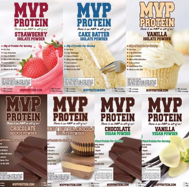 """MVP PROTEIN"" Chocolate Whey Isolate Protein Powder 12 Single Serving Packs)"