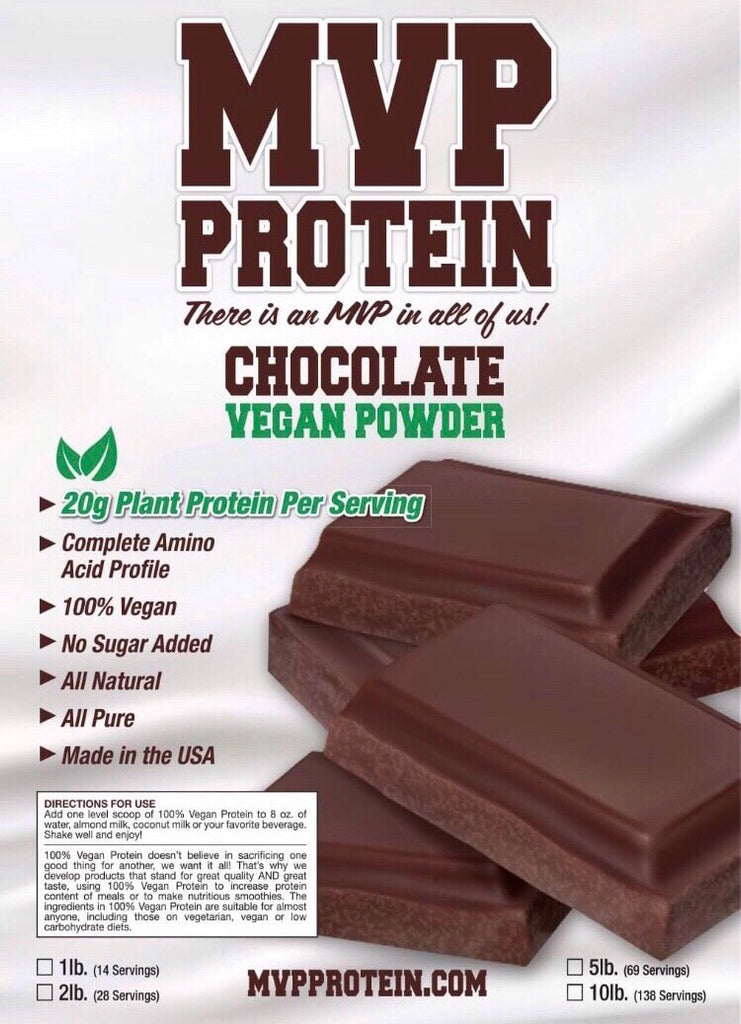 """MVP PROTEIN"" ""VEGAN CHOCOLATE"" (Plant Based) Protein Powder 20g of protein-12 Single Serving Packs"