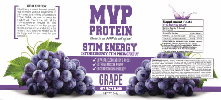 """MVP PROTEIN"" ""STIM ENERGY"" Grape Flavor PRE WORKOUT Powder (30 Servings)"