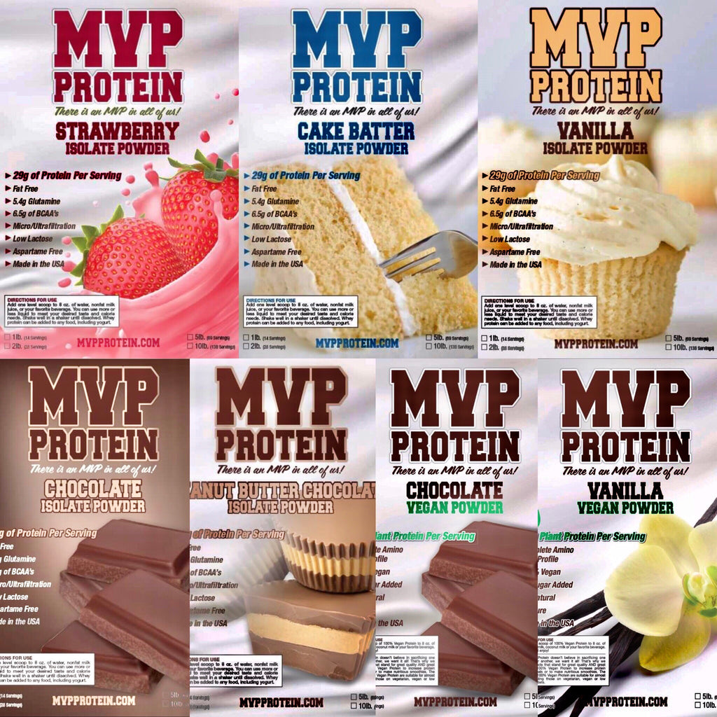 """MVP PROTEIN""  ""STRAWBERRY"" Whey Isolate Protein Powder- 10 Lbs. (138 Servings)"